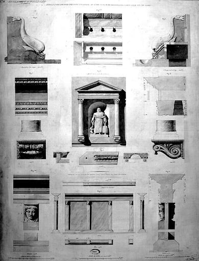 Restauration des thermes : Détails d'une des salles des bains de vapeur et d'une cloison en marbre dans l'antisalle des bains