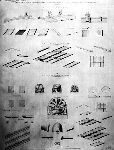 Restauration des thermes : Parallèles des couvertures en marbre des temples de Némésis à Rome, de Castor et Pollux à Rome et de l'Esculapeum