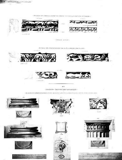 Restauration des thermes : Détails de l'entablement, et fragments trouvés dans les fouilles