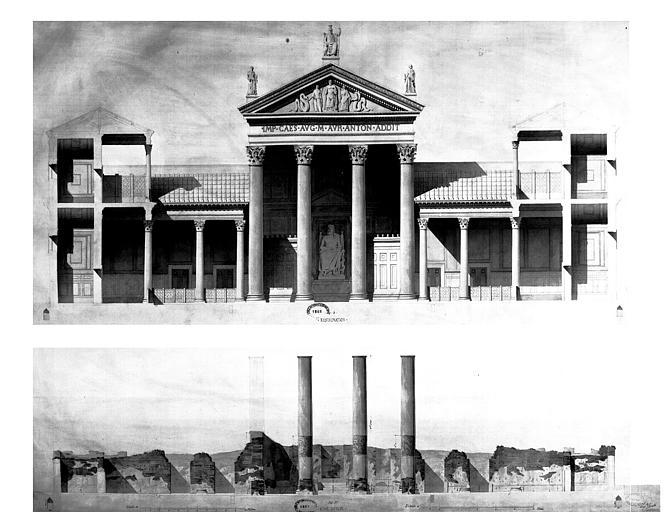 Restauration des thermes : Elévation (état actuel et restauration)