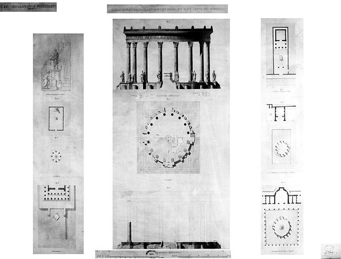 Restauration des thermes : Détails du plateau circulaire au milieu duquel est placé l'autel des sacrifices