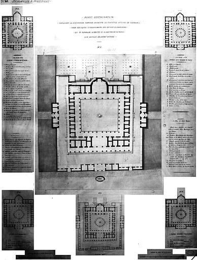 Restauration des thermes : Plans indiquant la disposition primitive (supposée) du péristyle autour de l'atrium