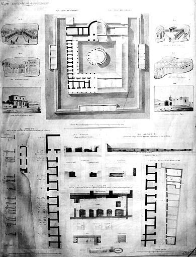 Restauration des thermes : Plan du 1e étage, diverses vues perspectives et détails