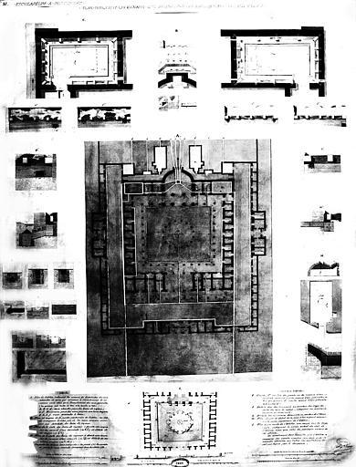 Restauration des thermes : Plans et détails indiquant les canaux qui amenaient les eaux minérales dans l'édifice