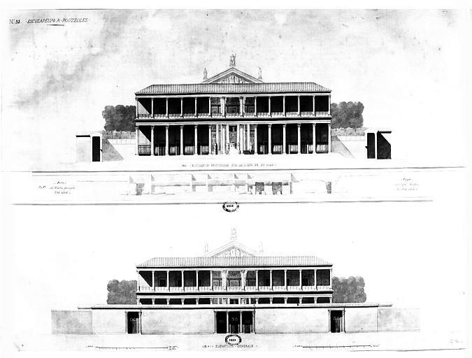 Restauration des thermes : Elévations de la façade principale