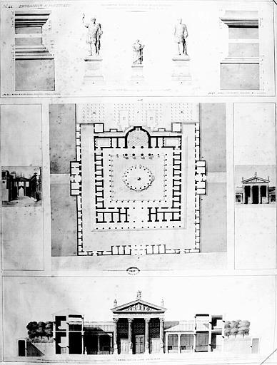 Restauration des thermes (postérieure à la belle époque) : Piédestaux placés au-devant des colonnes de l'atrium, plan général et coupe AB du plan