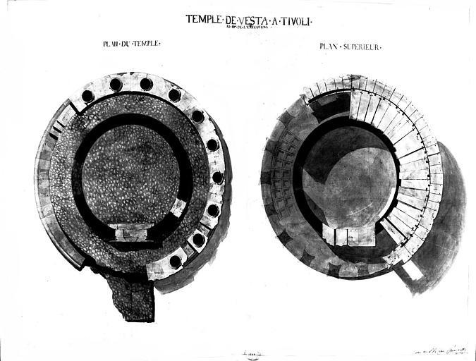 Restauration du temple : Plan au sol et plan supérieur (état actuel)