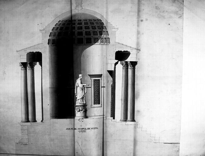 Restauration du temple : Coupe