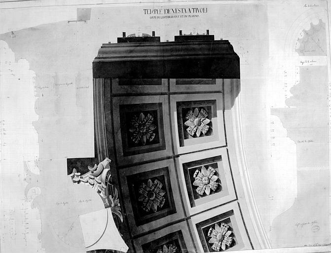 Restauration du temple : Coupe de l'entablement et du plafond