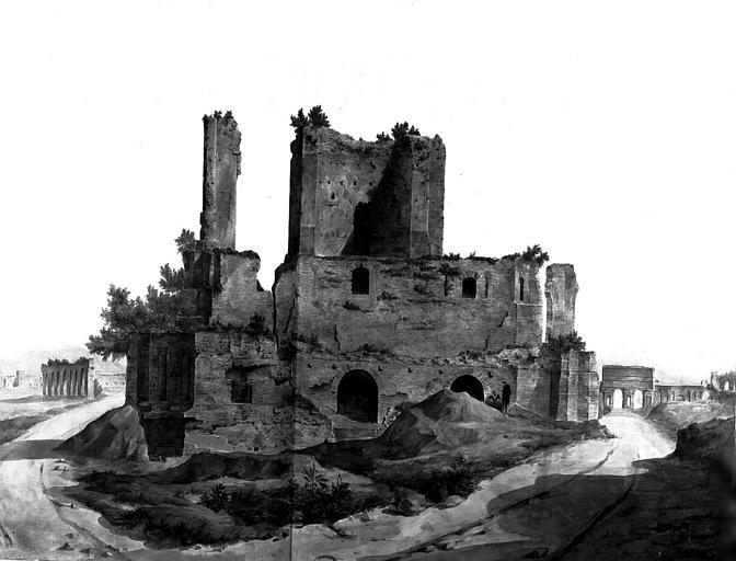 Restauration du château d'eau : Vue d'ensemble de l'état actuel (gouache)