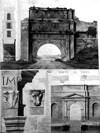 Restauration du château d'eau : Porte Prenestine (?) et Porte Tibur (gouache)