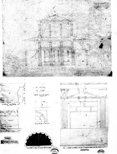 Restauration du forum : Coupe transversale de la Basilique et détails
