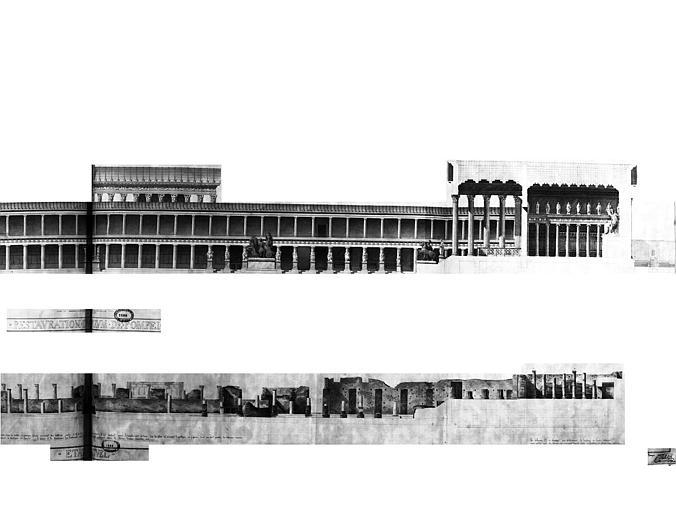 Restauration du forum : Coupe longitudinale du temple de Vénus et de Jupiter (état actuel et état restauré)