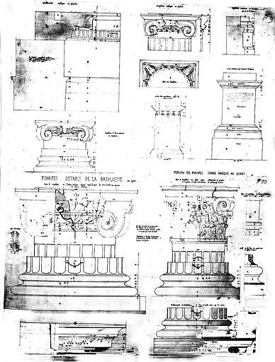 Restauration du forum : Eléments architecturaux d'ordre ionique de la basilique