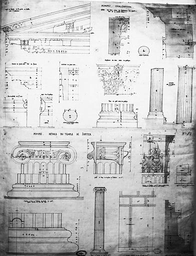 Restauration du forum : Eléments architecturaux des deux ordres du Chalcidicum et détails du temple de Jupiter