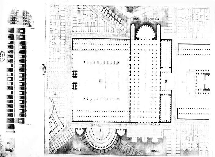 Restauration de la basilique : Plan de situation et coupe (état restauré)