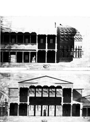 Restauration de la basilique : Coupes longitudinale et transversale