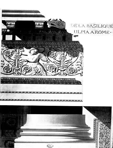 Restauration de la basilique : Détail du 1e ordre de l'intérieur (frise et base de colonne)