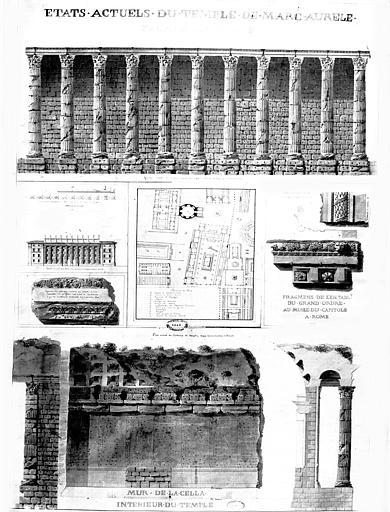 Restauration du temple : Plan, élévation, coupe et détails de la façade latérale intérieure (état actuel)