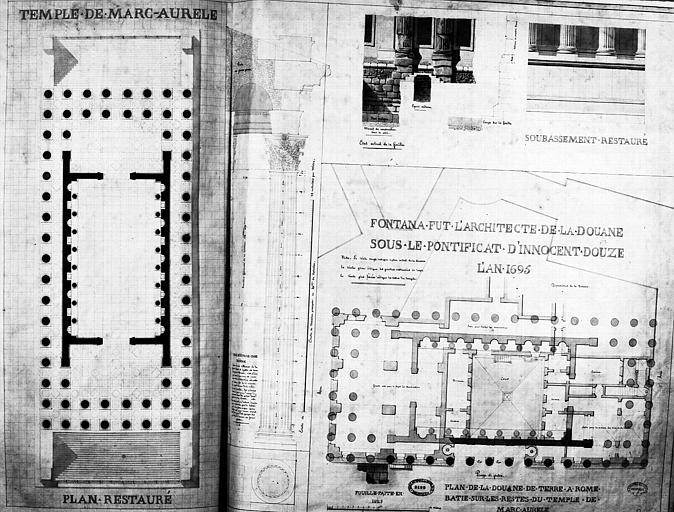 Restauration du temple : Plan et détail du soubassement (état restauré), et plan superposé de la Douane bâtie sur les restes du temple