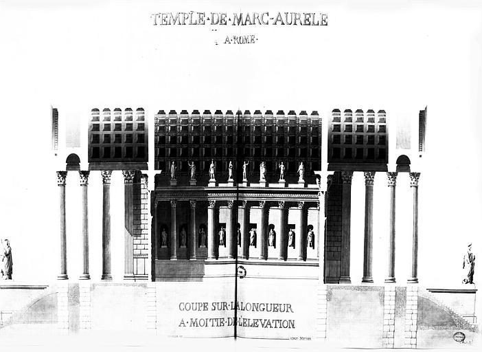 Restauration du temple : Coupe longitudinale à moitié de l'élévation