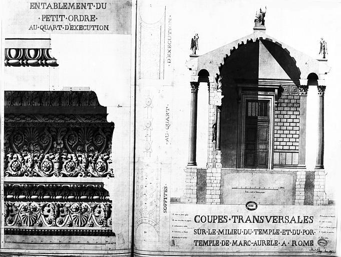 Restauration du temple : Entablement du petit ordre et coupes transversales sur le milieu du temple et du portique