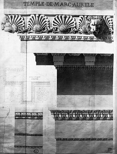 Restauration du temple : Détails de l'entablement
