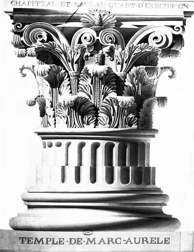 Restauration du temple : Chapiteau corinthien et base de colonne
