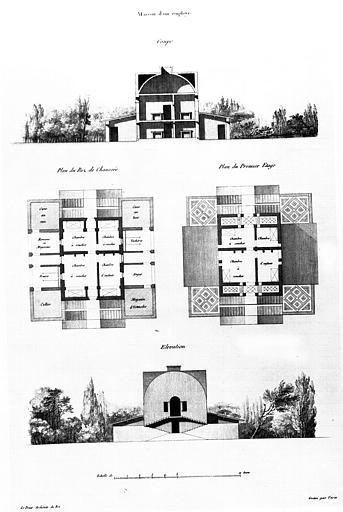 Gravure : 'La maison d'un employé', plans du rez-de-chaussée et du 1e étage, coupe et élévation