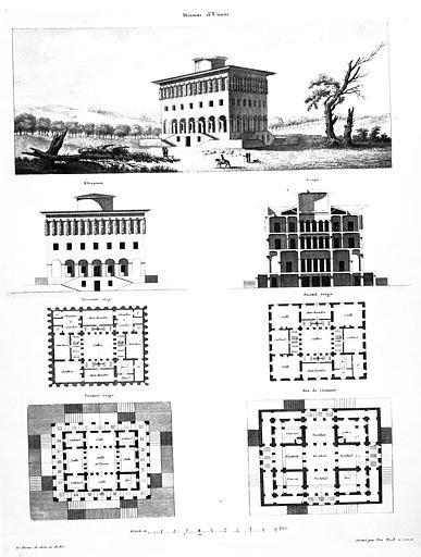 Gravure : 'La maison d'union', plans, coupe, élévation et vue perspective