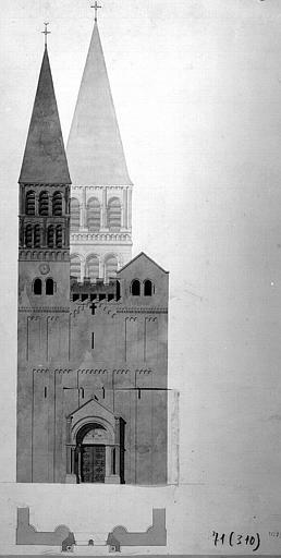 Elévation du portail occidental (encre et lavis)