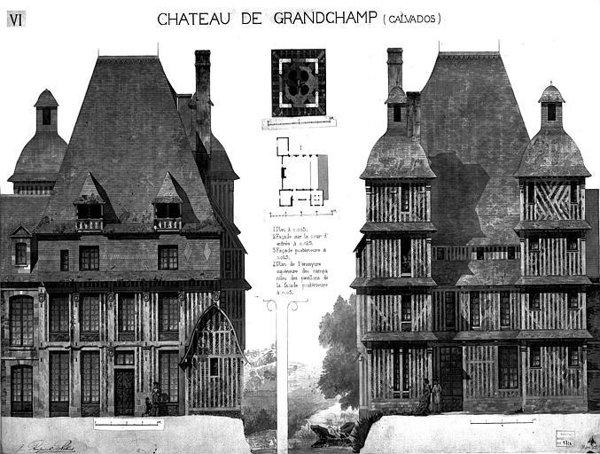 Plan général, façade sur cour et façade postérieure (aquarelle), pl.VI
