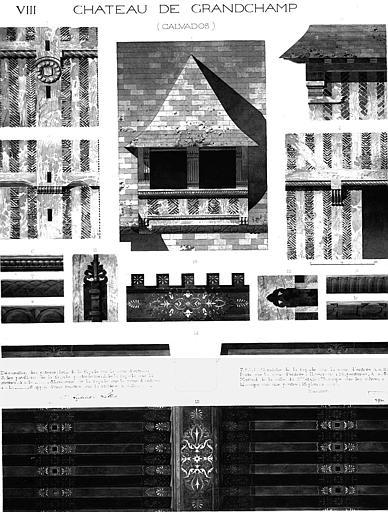 Dessins : Détails des décorations des poteaux de façade, des pavillons, de la lucarne, de l'appui de fenêtre, de verrous, de serrures, de solives (aquarelle), pl.VIII
