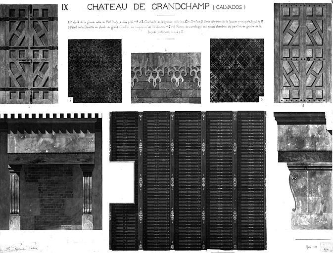 Dessin : Détails de plafond, de cheminée, de porte d'entrée, de bavette du comble, du carrelage des chambres (aquarelle), pl.IX