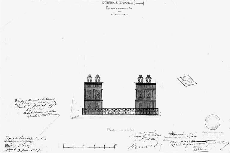 Projet après suppression du jubé : Elévation côté nef (plume et lavis)