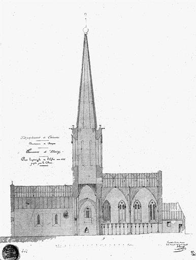 Coupe longitudinale de l'église avec voûte projetée pour le choeur