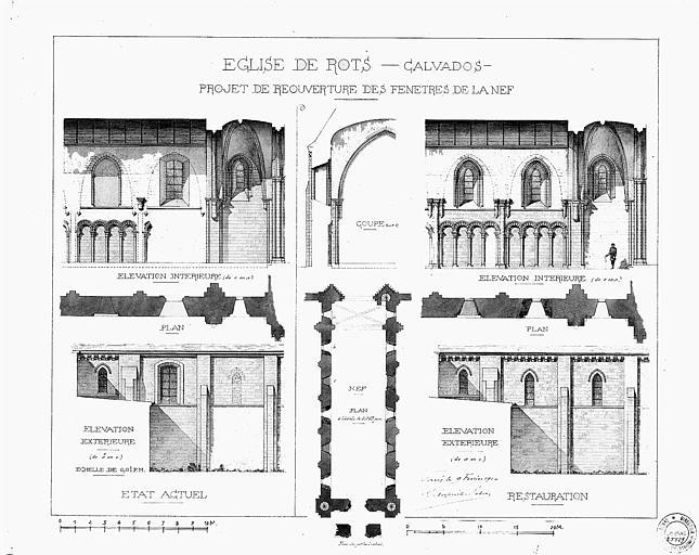 Projet de réouverture des fenêtres de la nef : Plan, élévations et coupes (état actuel et état restauré)