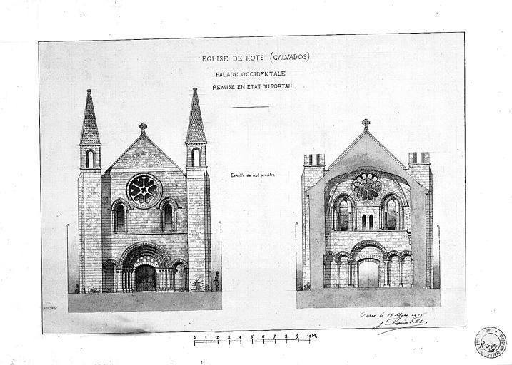 Remise en état du portail de la façade occidentale : Elévation et coupe (plume et lavis)