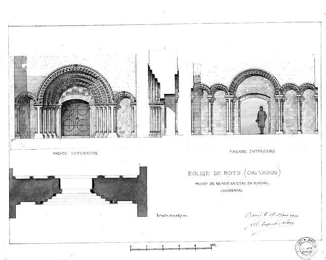Projet de remise en état du portail occidental (plume et lavis)