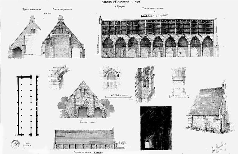 Grange : Plan des façades, coupes, élévations et détails architecturaux (plume et aquarelle)