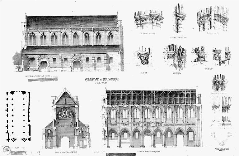Eglise : Plan, coupes, élévations, détails des chapiteaux, culs-de-lampe et des corbeaux (plume réhaussée d'aquarelle)