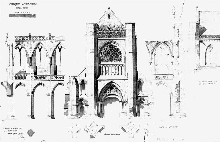 Eglise : Elévations des façades et coupes (plume réhaussée d'aquarelle)