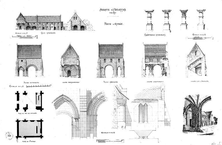 Porte d'entrée : Elévations, coupes et détails architecturaux (plume sépia)
