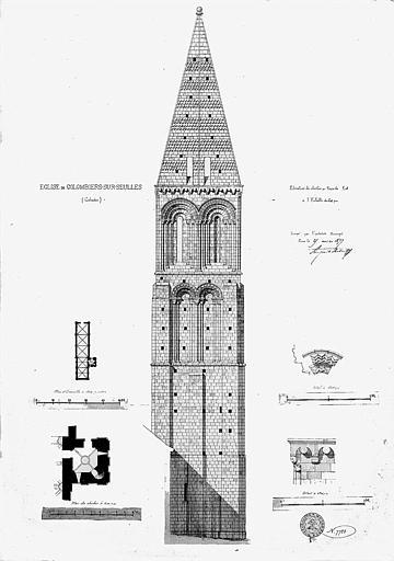 Elévation du clocher (face est), plans et détails architecturaux