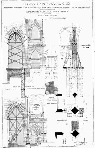 Désordres survenus à la suite du tassement partiel du pilier sud-ouest de la tour centrale : Etaiements, consolidations, reprises (plume et lavis)