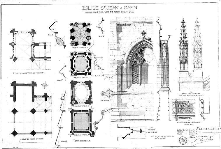 Transept sud, nef et tour centrale : Plans, détails de fenêtre, pinacles et balustrade (plume et lavis)