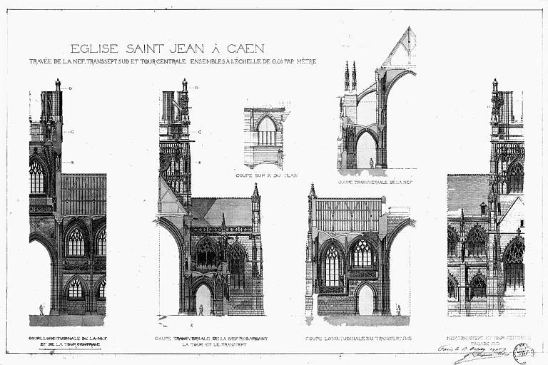 Travée de la nef, transept sud et tour centrale : Coupes et élévations (plume et lavis)