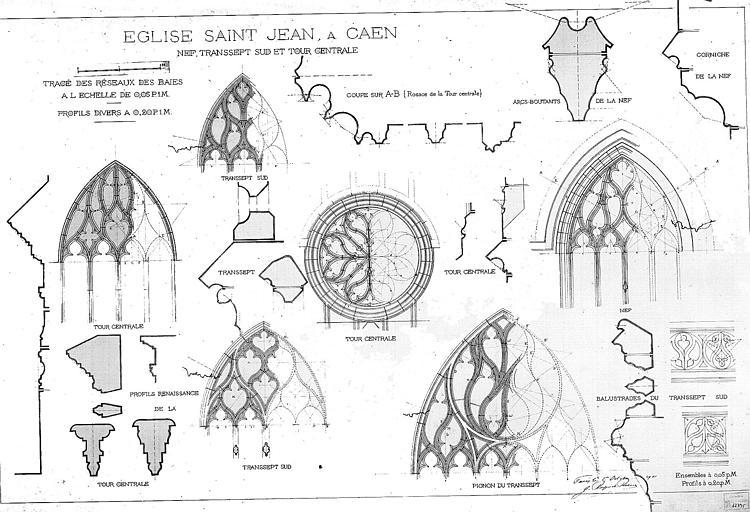 Nef, transept sud et tour centrale : Tracé des réseaux des baies et profils divers (plume et lavis)