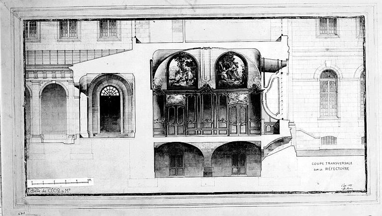 Coupe transversale sur le réfectoire (aquarelle)
