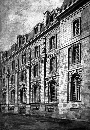 Dessin en perspective de la façade du réfectoire (aquarelle)